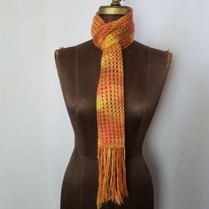 Peruvian baby alpaca fleece knit scarf orange